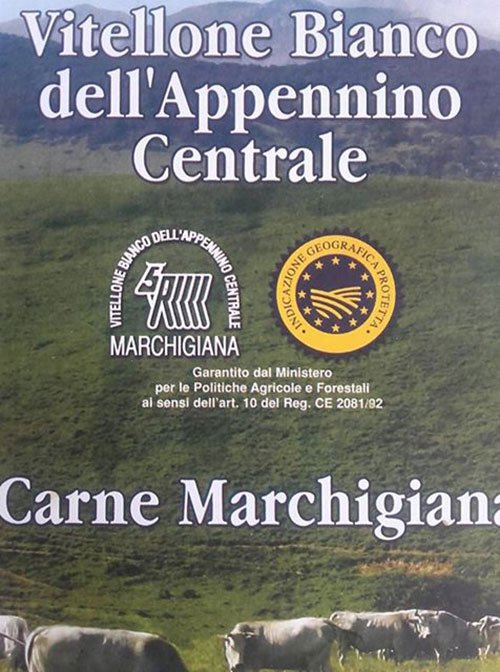 un volantino con scritto Vitellone Bianco dell'Appennino centrale carne marchigiana