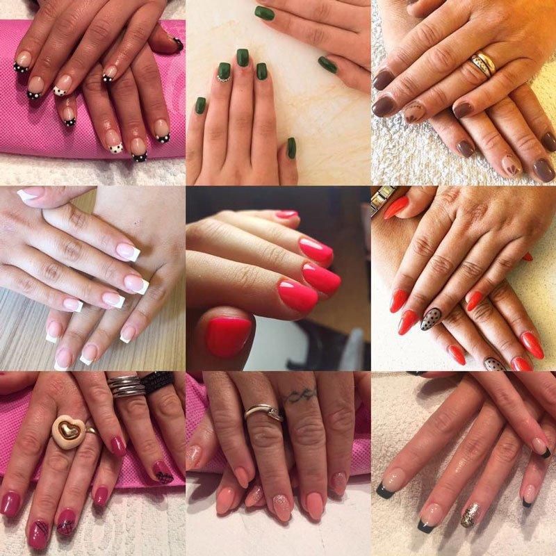 un collage di foto di unghie smaltate