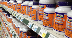 vitamin supplements in shelves