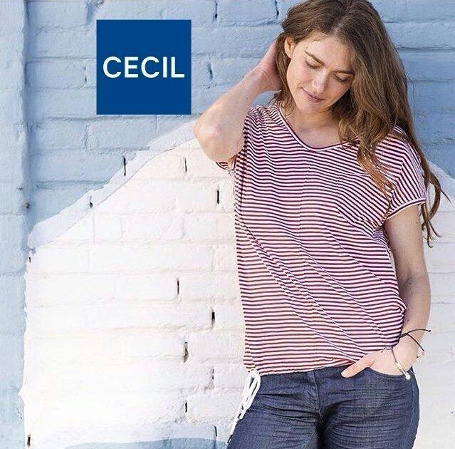 Catalogo di camicette della marca cecil, modelle indossano camicia bianca, blu e bianco, scarpe da tennis bianche