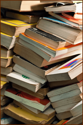 A stack of second hand books
