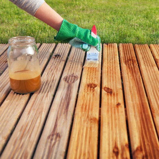 Repainting a newly renovated deck