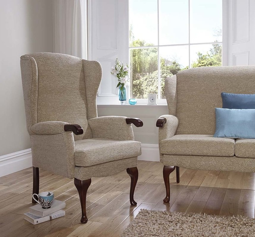 cream chairs with blue cushion