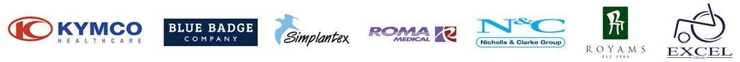Kymco blue badge simplantex roma NandC royams EXCEL logos