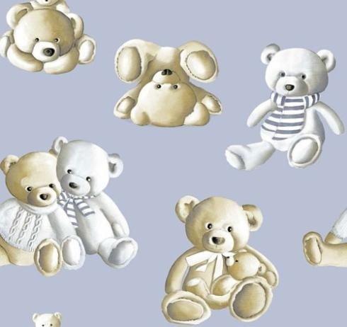 Tessuto Teddy Bear blu