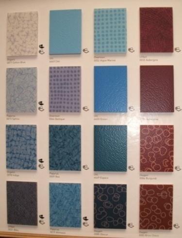campioni in pvc sfumature del blu