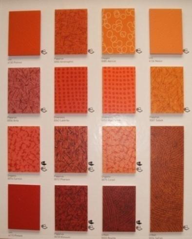 campioni in pvc sfumature del rosso