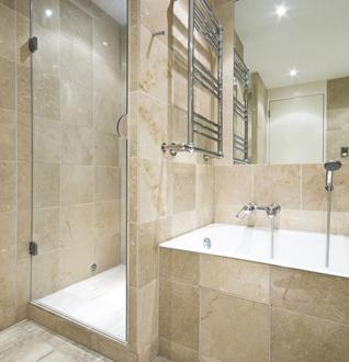 A shower unit in a modern looking bathroom
