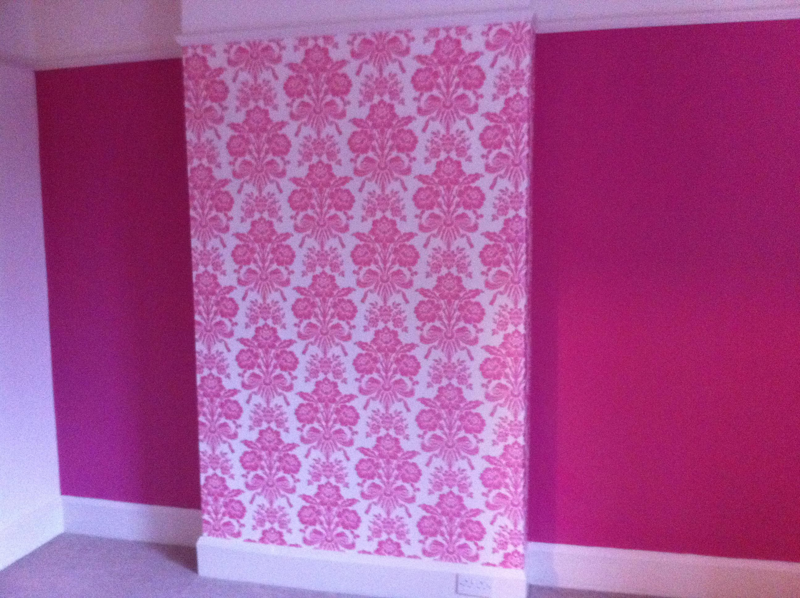 Beautiful pink wall painted by our team in Grantham, NG