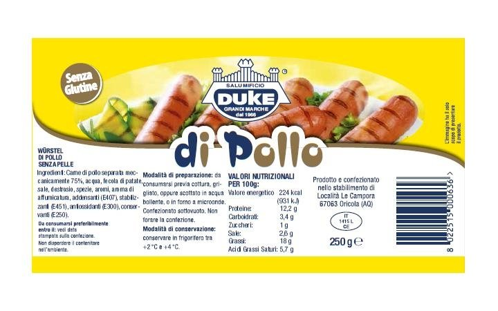 250g chicken sausage, label