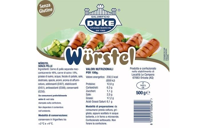 1kg pack of gluten-free sausage