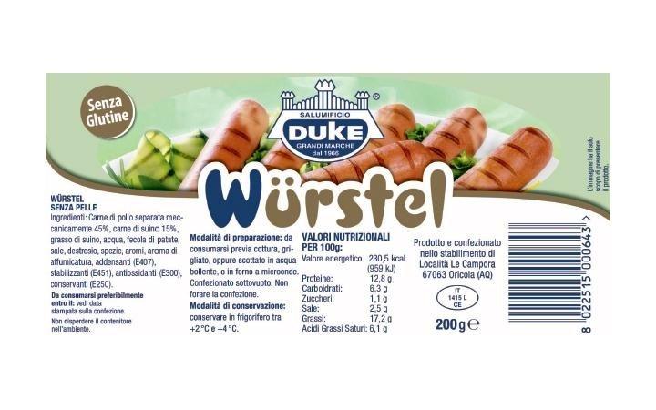 wurstel misto 200gr etichetta