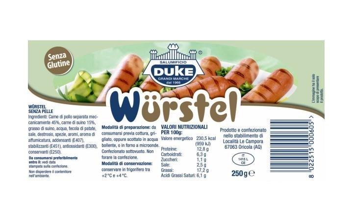 wurstel con suno 250gr etichetta