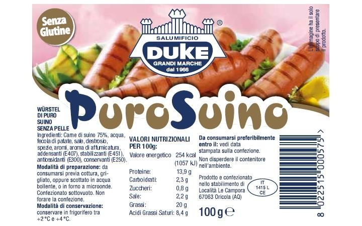 100g pure pork sausage, label