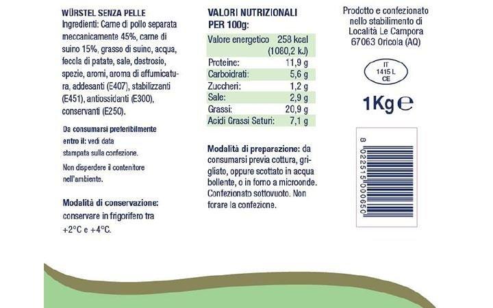 Wurstel senza glutine confezione da 1Kg