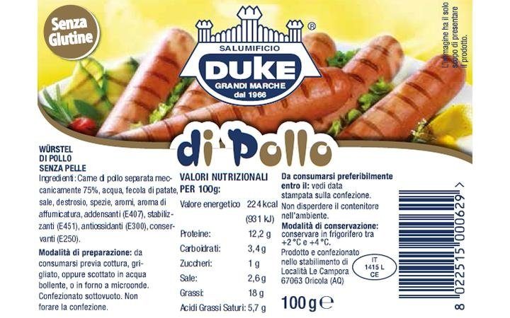 100g chicken sausage, label