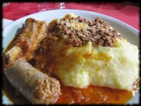 Ribs and corn polenta