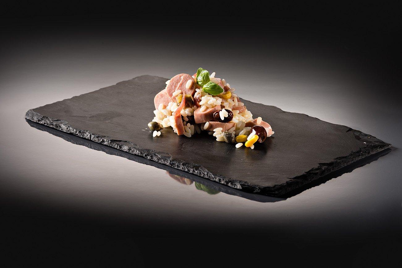 risotto con carne us un piatto