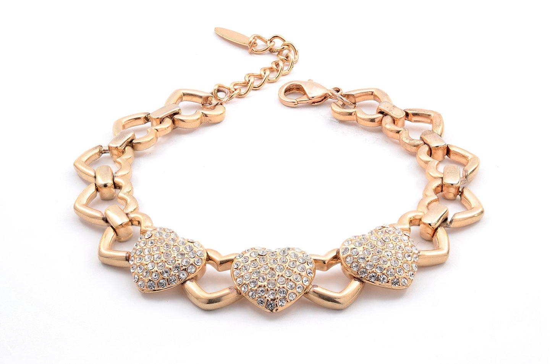 braccialetto in oro con tre cuori