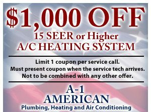 $1,000 off 15 SEER or higher a/c heating