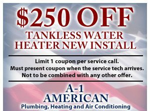 $250 off tankless water heater new install