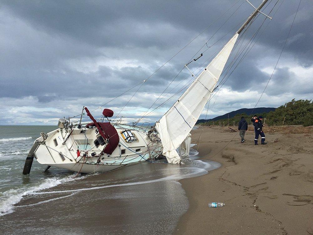 Messa in secca di una barca a vela