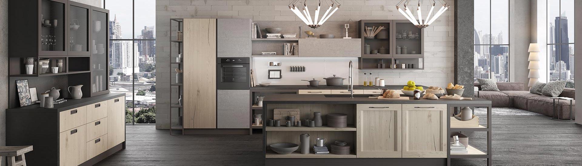vista interna di una casa con cucina moderna in legno
