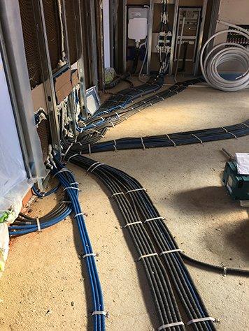 Dei cavi di color blu e nero collegati a  un impianto elettrico