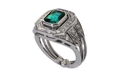 anello oro bianco smeraldo bologna