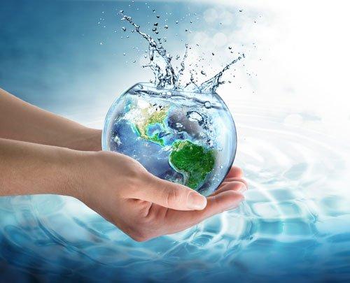 globo dentro una ciotola di acqua tenuta in una mano