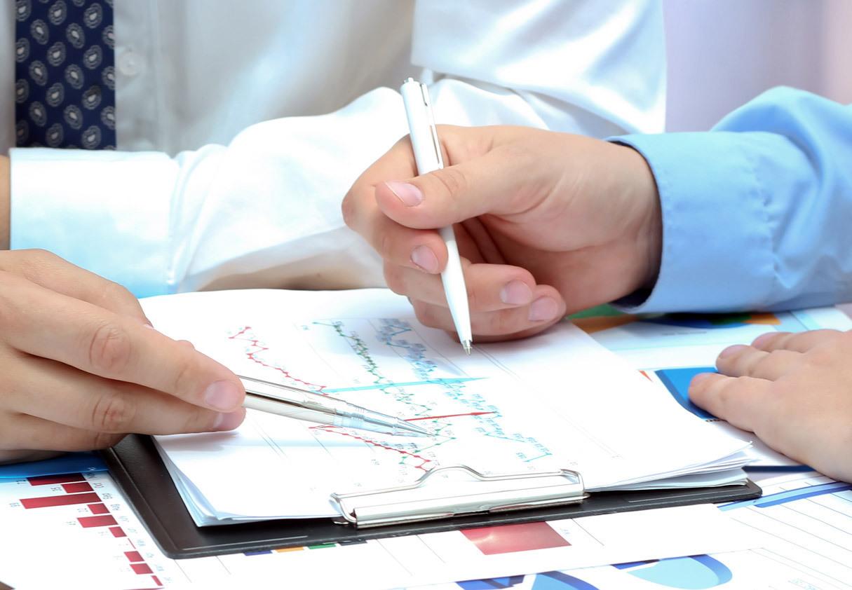 Men analysing a business