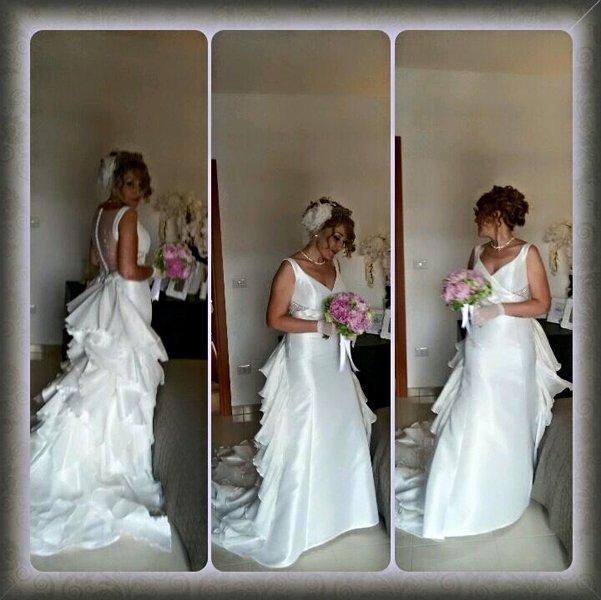 donna in abito da sposa in tre diversi posa con mazzo di fiori in mano