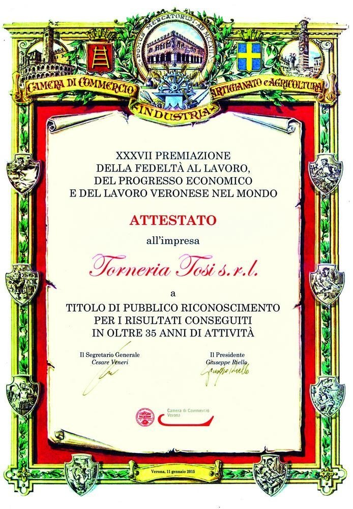 Certificate for over 35 years in business