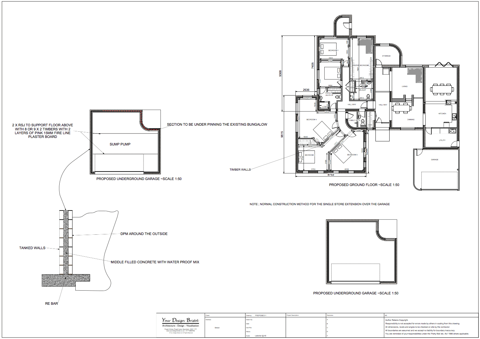 Bed and breakfast design drawings and visualisation for Underground garage design plans