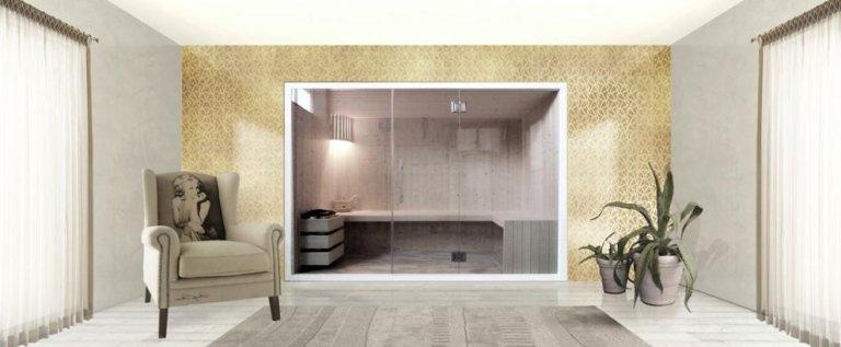 Sauna con vetrate in cristallo