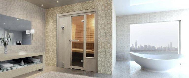 sauna con esterno in frassino