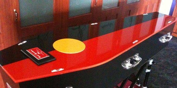 half red half black casket