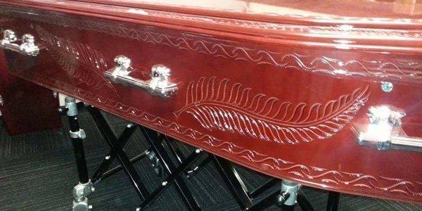 light brown casket