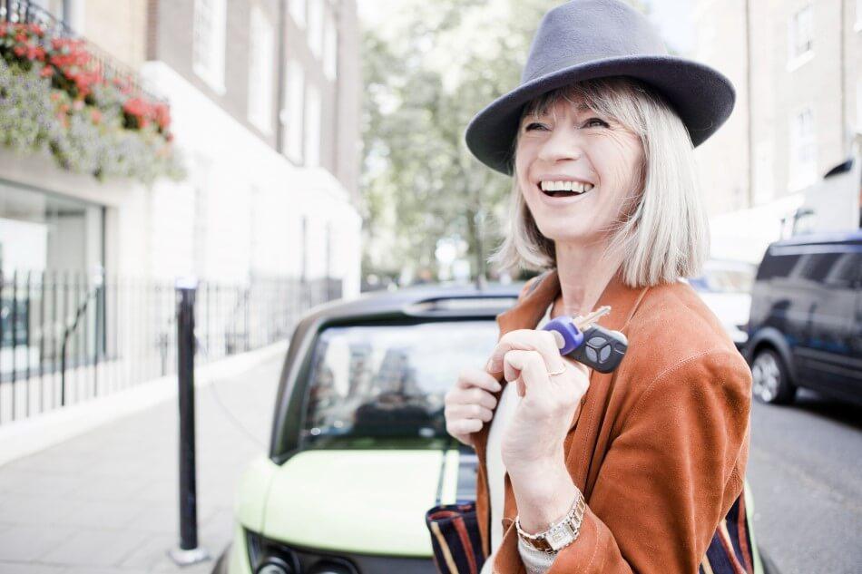 A woman with car keys
