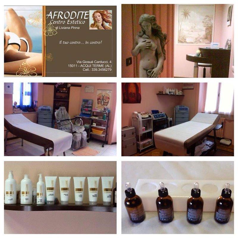 Un collage di foto del centro estetico e dei prodotti disponibili