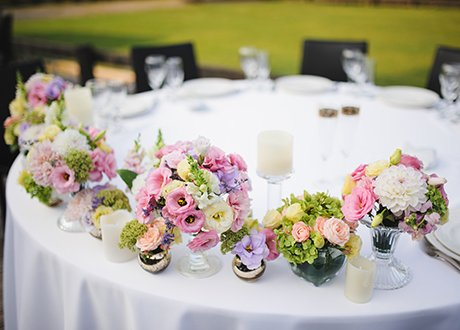 Flowers on table during business event