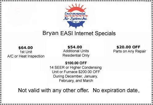 air conditioning service coupon for Bryan-College Station, TX