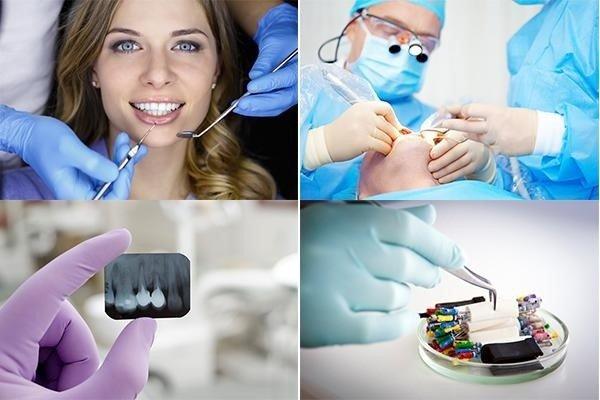 dentista controlla denti di una paziente con specchietto