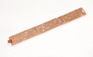 Bracciale in ottone placcato oro con 11 file di zirconi