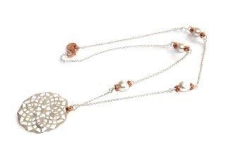 Collana lunga in ottone placcato oro con perle bianco e rosa
