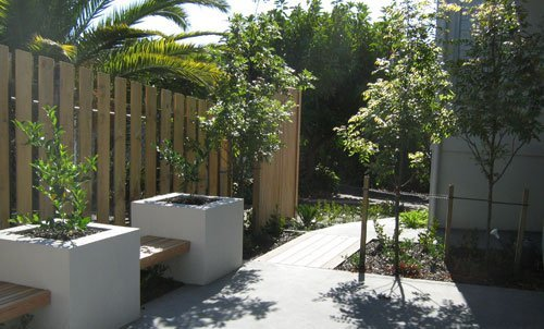 View of the wooden fence installed in the garden