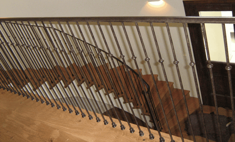 Iron railing installed on the stairway