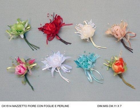 mazzetto fiore con foglie e perline