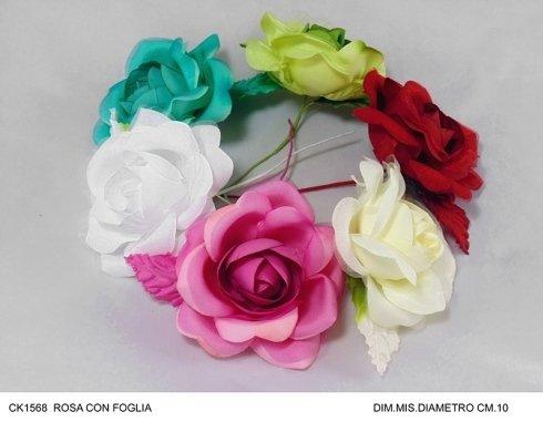rosa con foglia