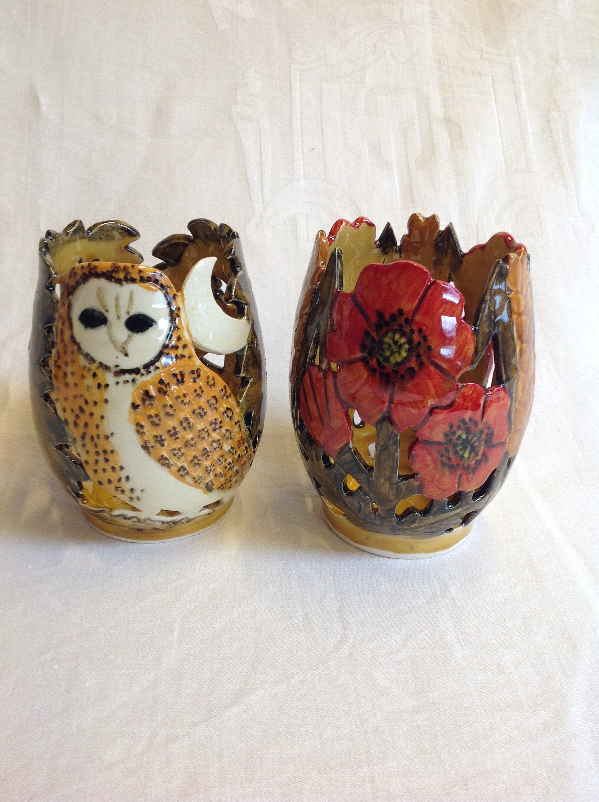owl and poppy vases